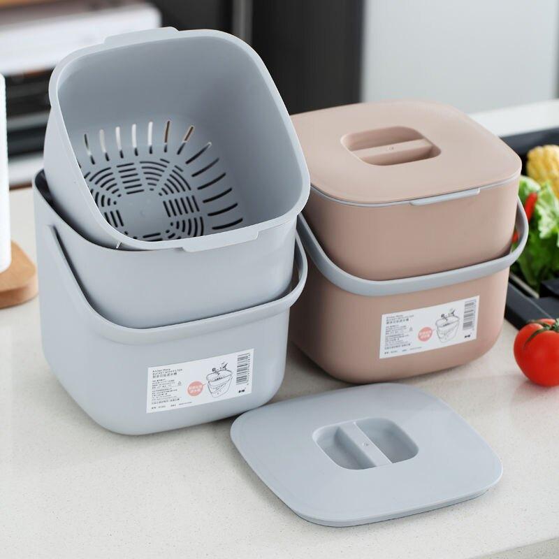 廚余垃圾桶家用帶蓋桌面干濕分類餐廚創意廚房瀝水垃圾筒
