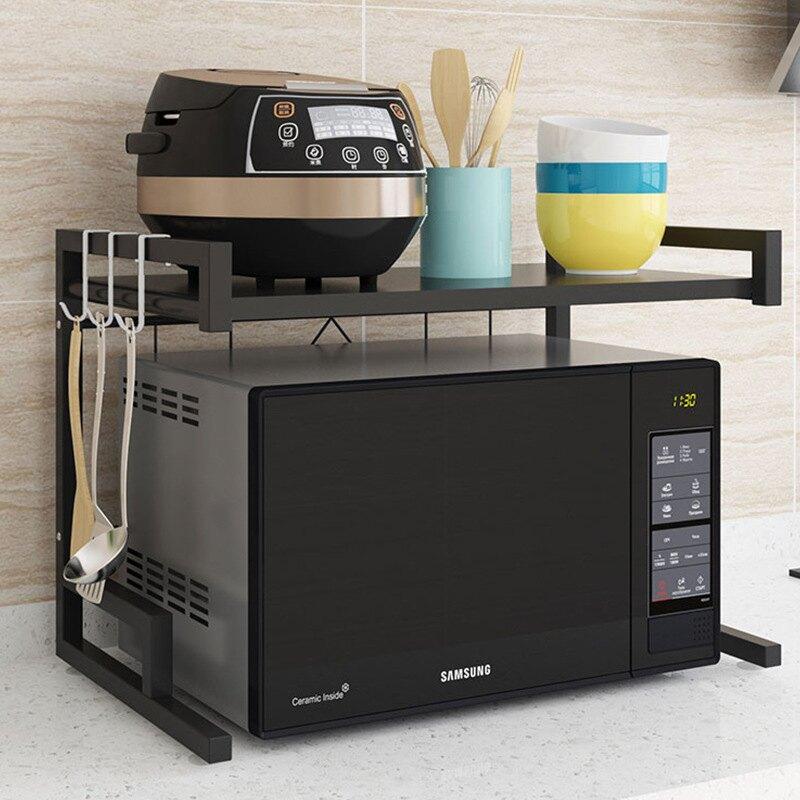 伸縮微波爐廚房置物架落地家用電飯煲烤箱架子廚房台面雙層收納架