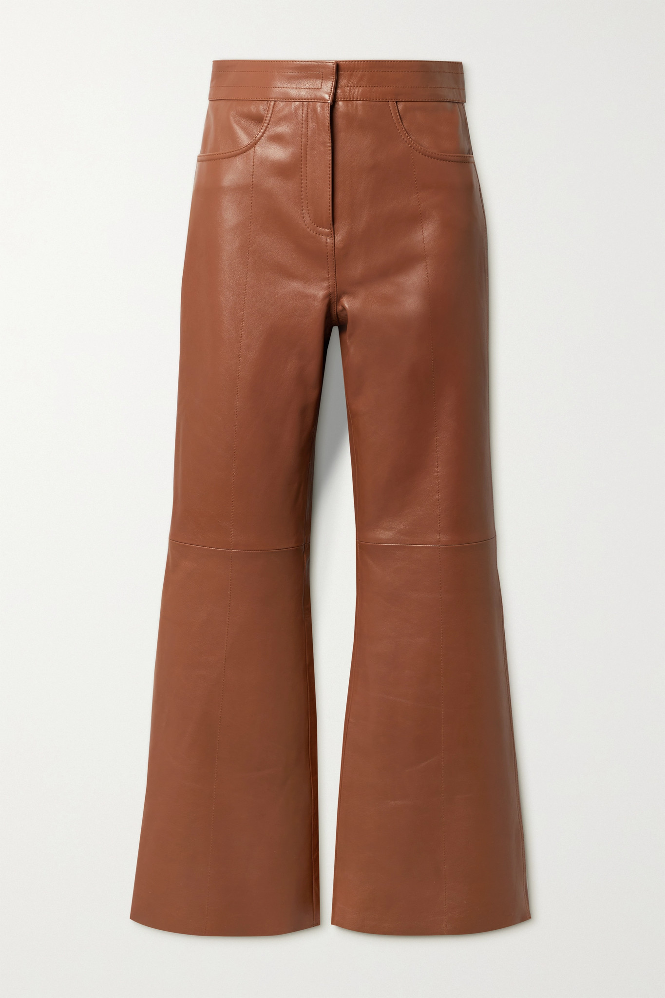 STAND STUDIO - Eudora 皮革喇叭裤 - 棕色 - FR34