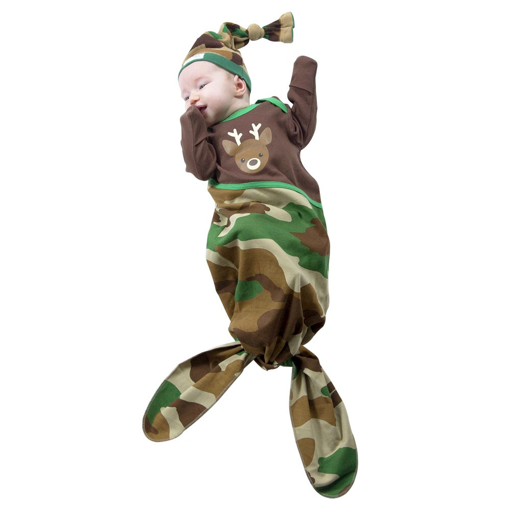 【美國Izzy Owie】魚尾包腳連身衣-迷彩野鹿(0-9M) 包腳連身衣 長袖包屁衣 長袖兔裝(LAVIDA官方直營)