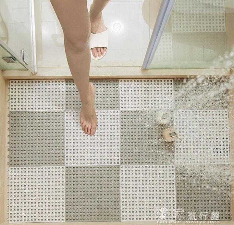 防滑墊浴室防滑墊淋浴房洗澡隔水墊家用防摔拼接鏤空墊子廁所衛生間