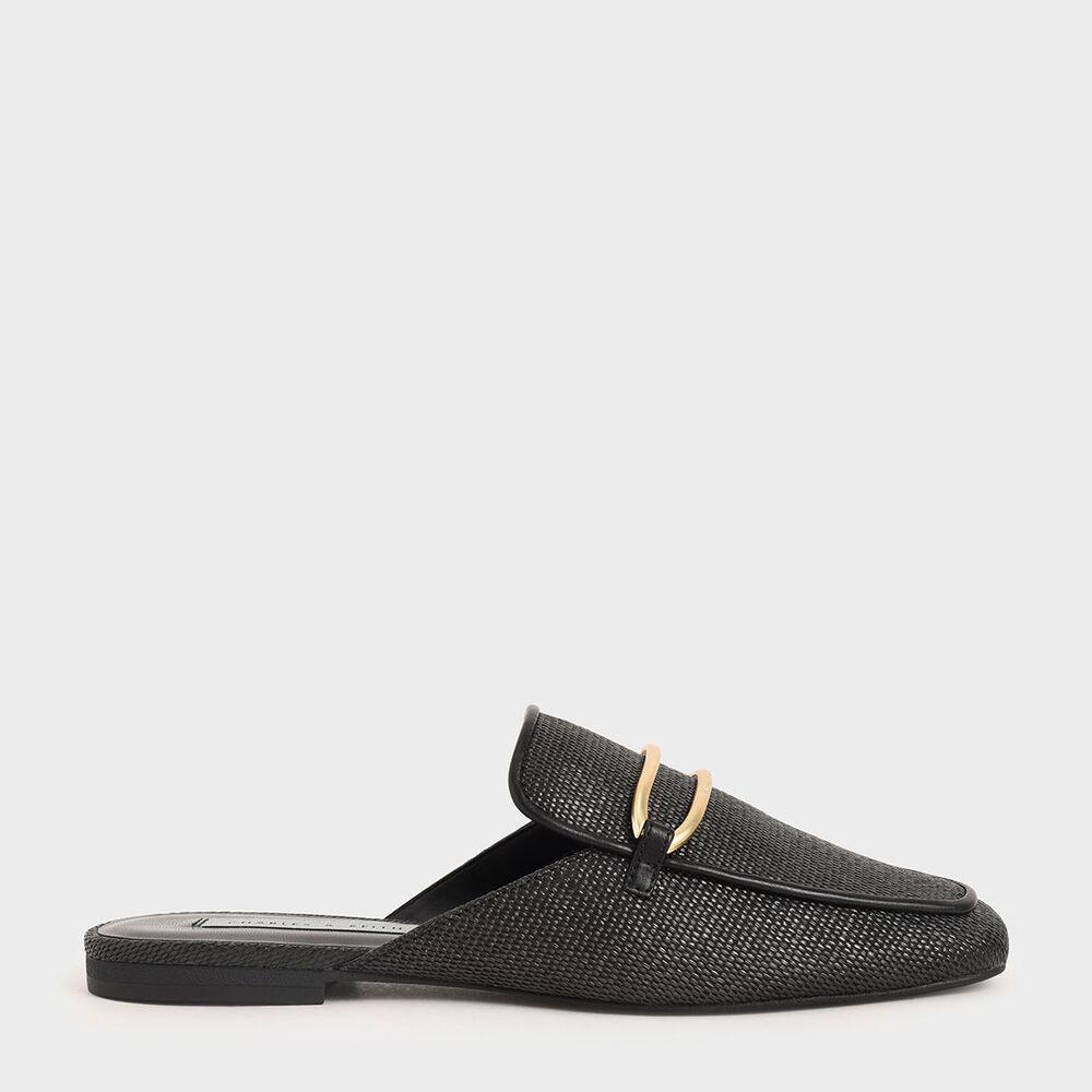 金屬環草編穆勒鞋