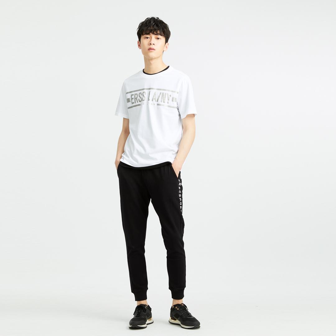 銀箔時尚LOGO純棉圓領T恤(白色)-男