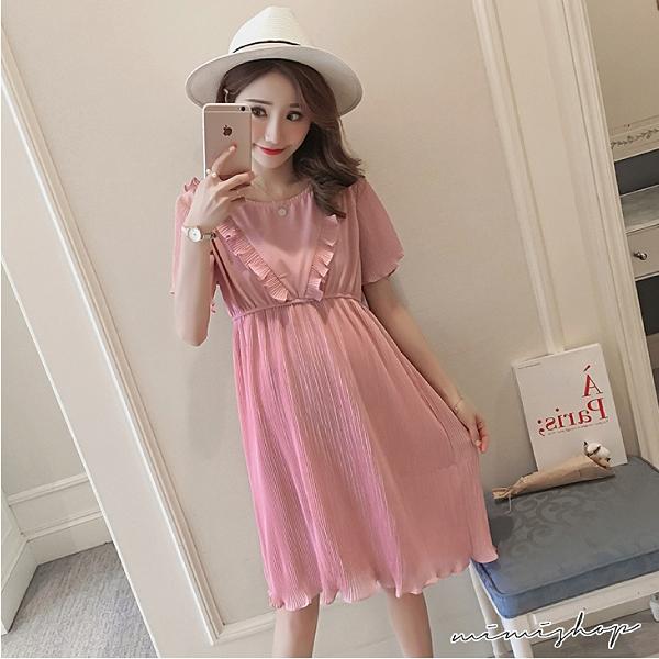 孕婦裝 MIMI別走【P521371】浪漫下午茶 雪紡百褶連身裙 孕婦洋裝