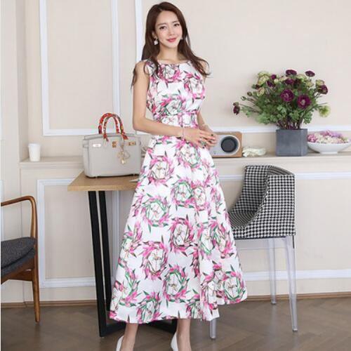 洋裝 背心裙 長裙S-XL新款氣質長裙時尚腰帶收腰印花大擺裙連身裙NE49-7966.愛尚依人