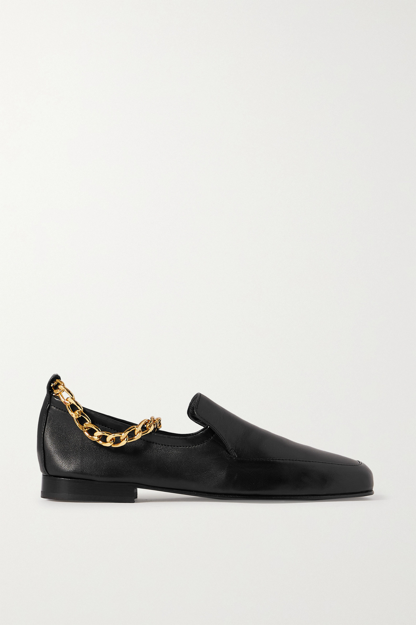 BY FAR - Nick Chain-embellished Glossed-leather Loafers - Black - IT37