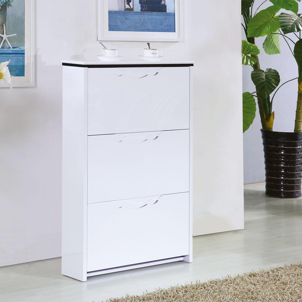 【AT HOME】北歐設計2.3尺白色三門掀式鞋櫃(70x17x105cm)史翠