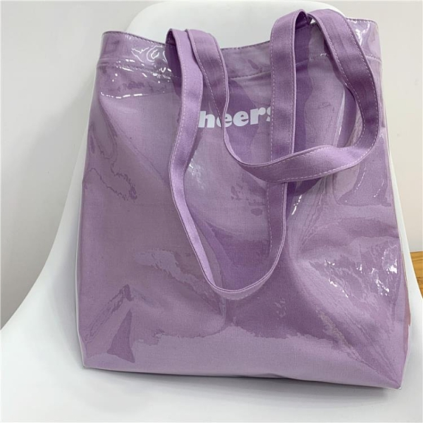 沙灘包 韓國ins字母帆布透明包包夏季沙灘果凍包購物袋大容量側背女包 韓美e站