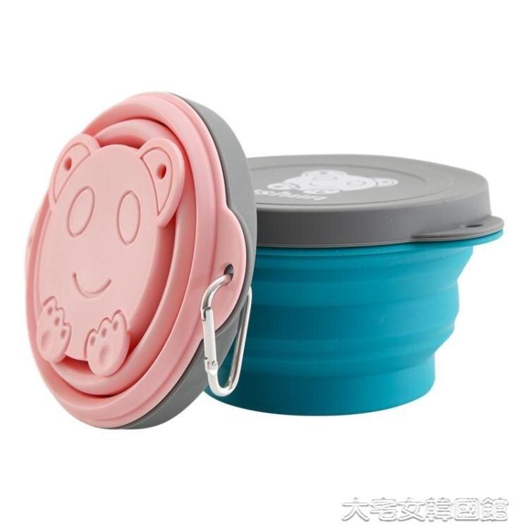 戶外餐具矽膠折疊碗旅行便攜餐具壓縮碗伸縮碗便攜式野餐飯盒可折疊戶外碗【快速出貨】