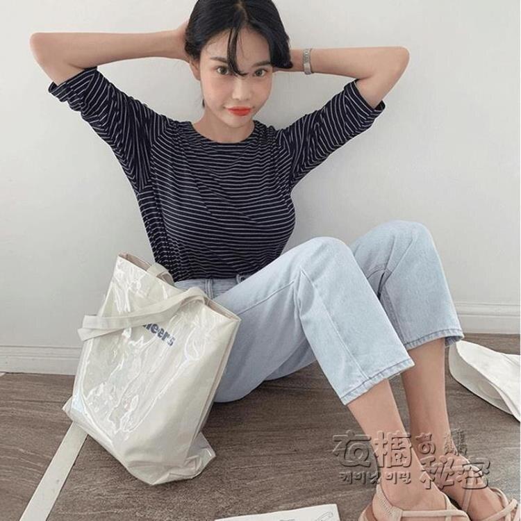 帆布單肩ins風韓版日系透明PVC防水大容量學生上課簡約潮女士包袋