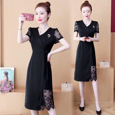 短袖洋裝 L-5XL大碼連身裙夏季新款韓版胖mm200斤洋氣蕾絲拼接顯瘦連身裙NB30-1.洛麗塔-8折免運