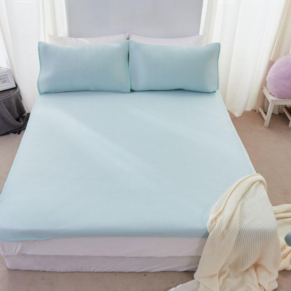 瞬間涼感6D冰涼墊-單人/雙人/加大/枕套 / 湖水綠 涼蓆 涼墊 進階涼感