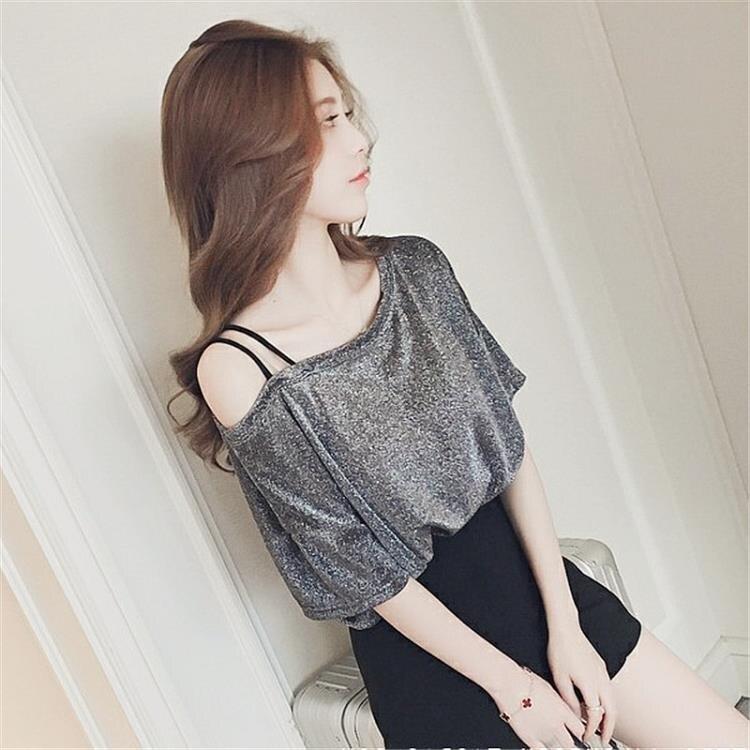 一字肩上衣 短袖t恤女2021新款夏裝寬鬆ins韓版潮一字領露肩性感小心機上衣服