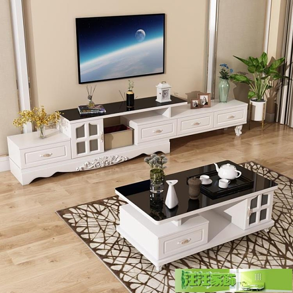 電視櫃現代簡約小戶型客廳北歐風格伸縮茶几電視櫃組合牆櫃 汪汪家飾 免運