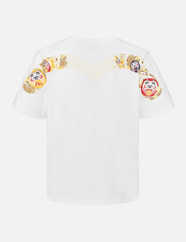Daruma & Coin Wave Box Print T-Shirt