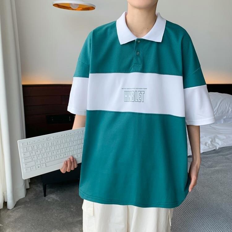 短袖Polo衫 美式vintage拼色翻領Polo衫男士寬鬆休閒oversize上衣夏季短袖T恤