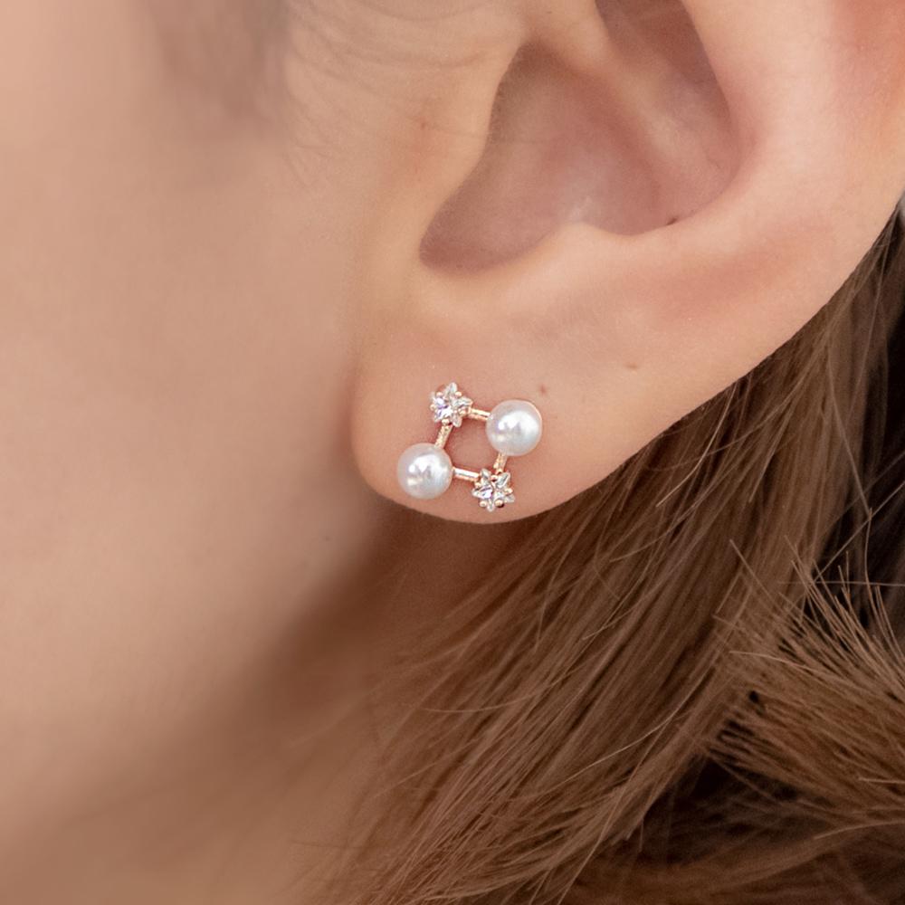 菱形星鑽小珍珠925銀針耳環(2色)-A10308