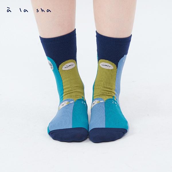 a la sha 繽紛長長動物中筒襪
