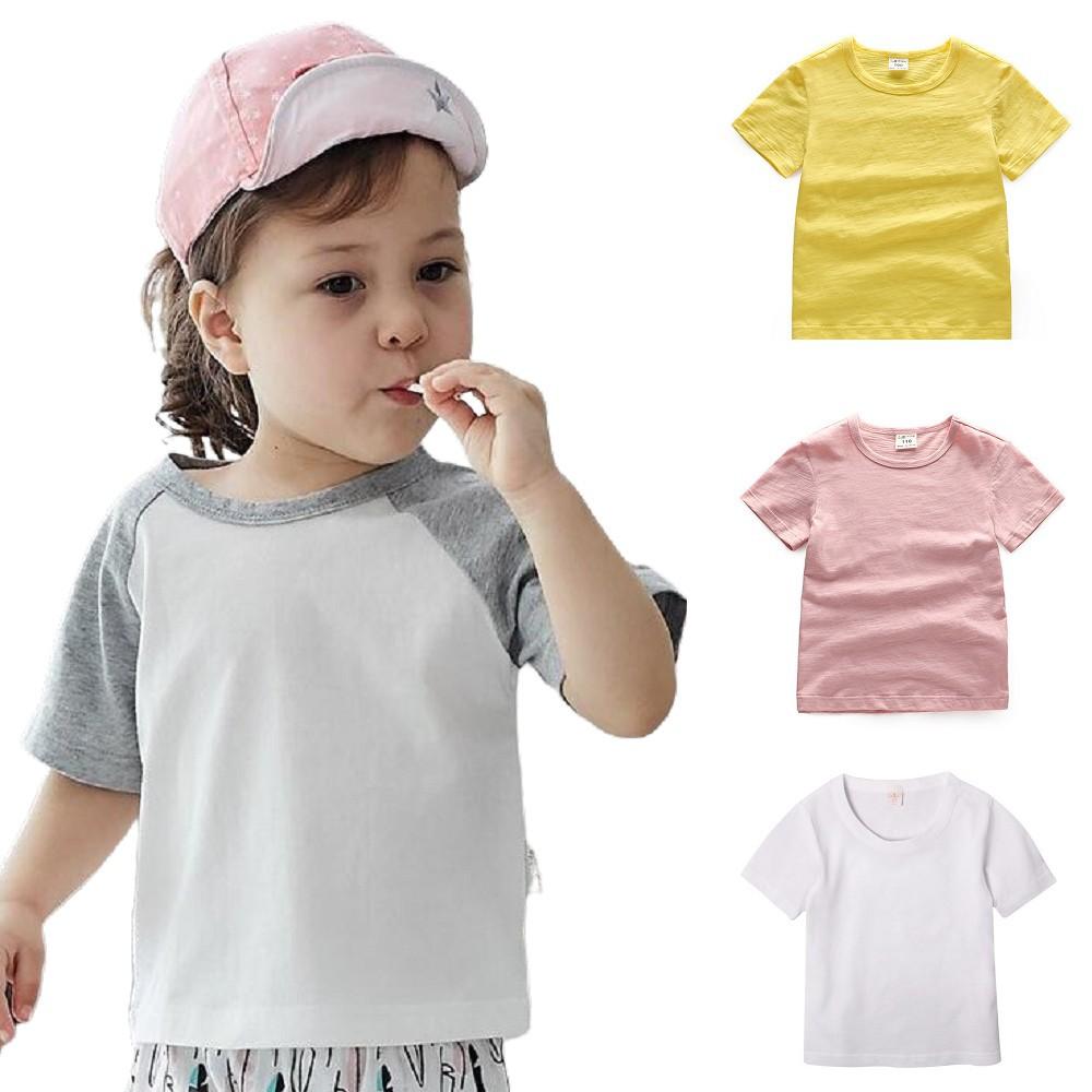 Baby童衣 中小童短袖圓領T 純棉素色上衣T恤 插肩袖T恤 男女童竹節棉百搭上衣 61107