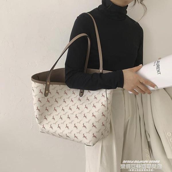 托特包 包包女2021新款潮網紅大容量托特包法國小眾高級感側背包小馬大包 新品