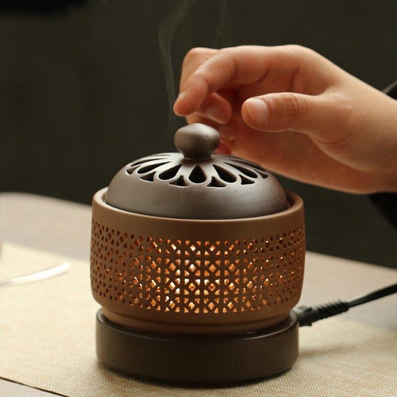 電子熏香爐家用小夜燈定時可調溫創意陶瓷充電檀香沉香插