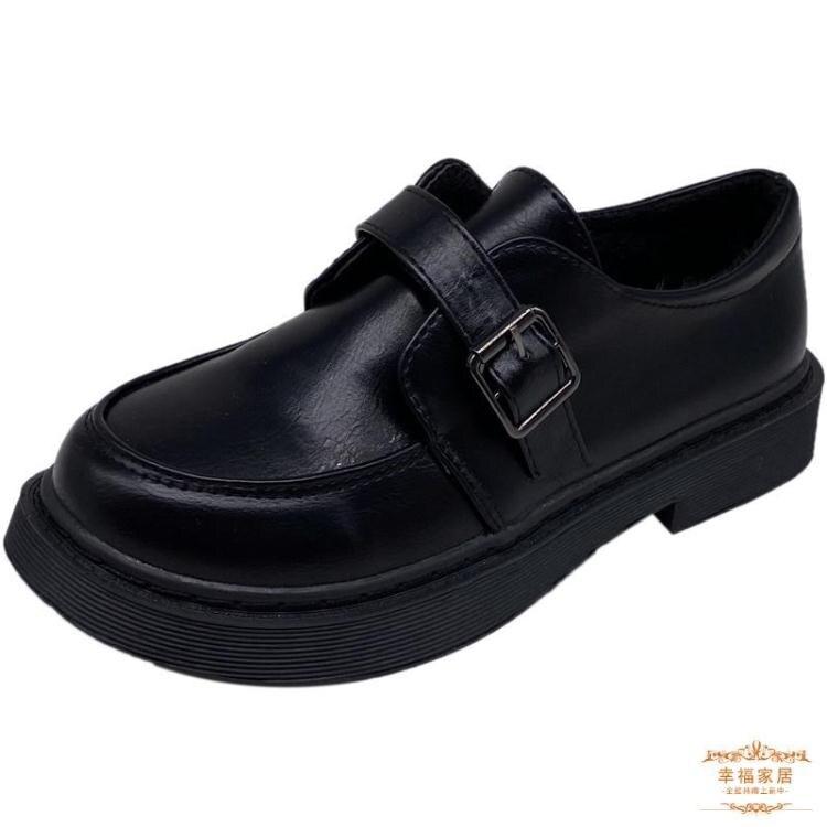牛津鞋 黑色漆皮小皮鞋女冬英倫風2021春新款厚底學生牛津日系製服jk單鞋