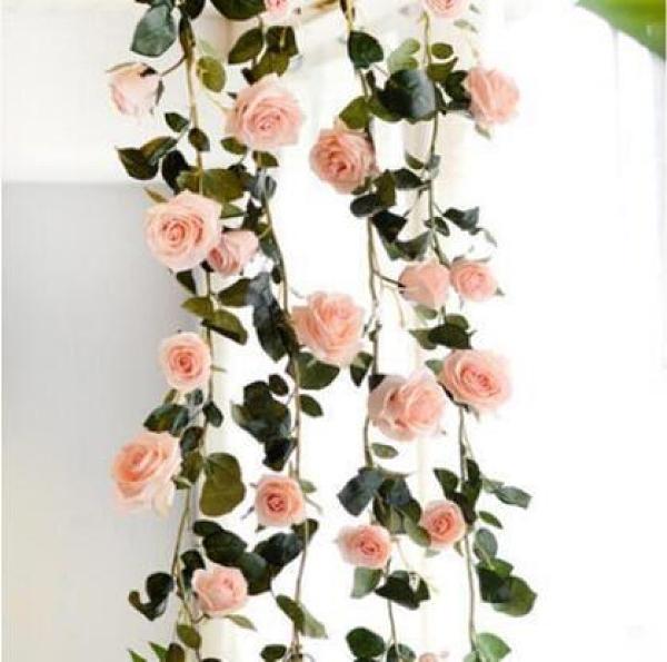 仿真玫瑰花藤空調管道遮擋裝飾藤塑料假藤蔓壁掛屋頂纏繞假花藤條