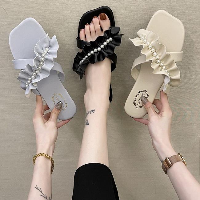 FOFU-(任2雙788)浪漫仙女風低跟方跟蕾絲緞帶拖鞋涼鞋【02S13796】