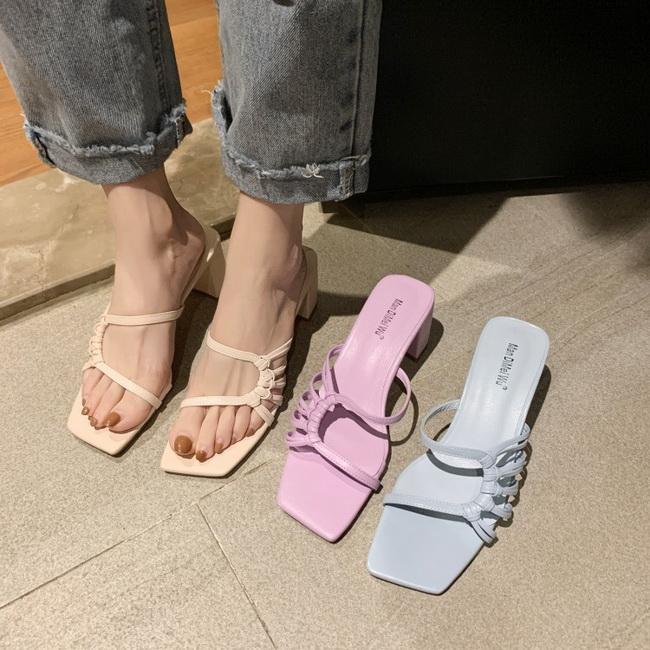 FOFU-(任2雙788)浪漫仙女風高跟粗跟馬卡龍糖果色拖鞋涼鞋【02S13814】