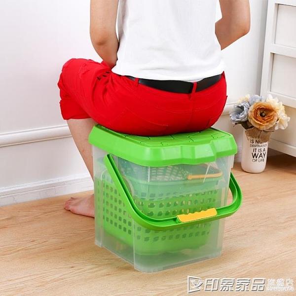 加厚大號方形洗車桶塑料帶蓋可手提釣魚桶車載釣魚凳可坐水桶凳 璐璐