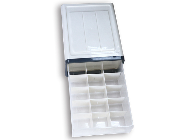 日式DIY疊加分隔抽屜式收納盒-15分格(典雅灰)1入【D557446】