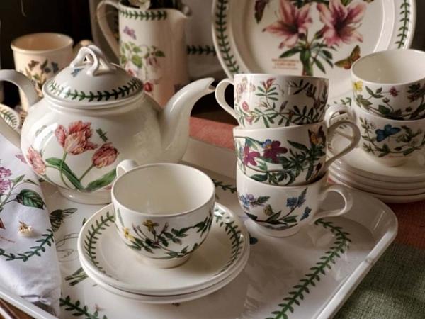 (二杯一壺贈托盤)英國Portmeirion-Botanic Garden 經典植物園系列-直筒杯盤-雙人下午茶組