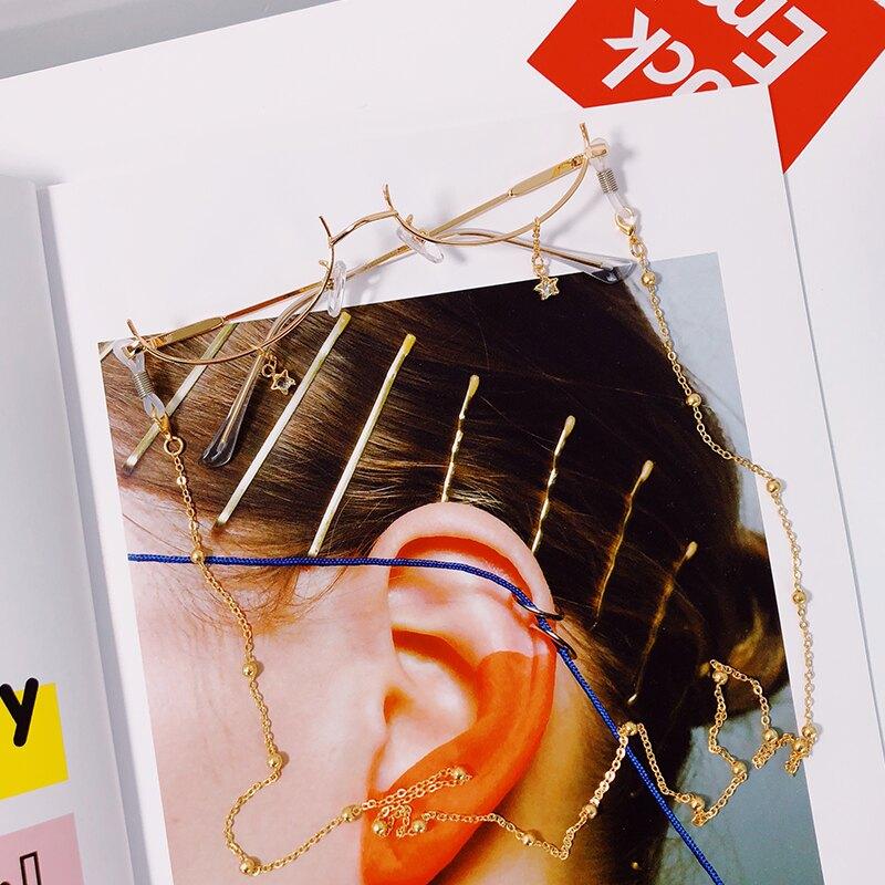 眼鏡鍊 抖音網紅同款下半框眼鏡女水滴無鏡片裝飾cos二次元帶鍊子眼鏡架『XY16530』
