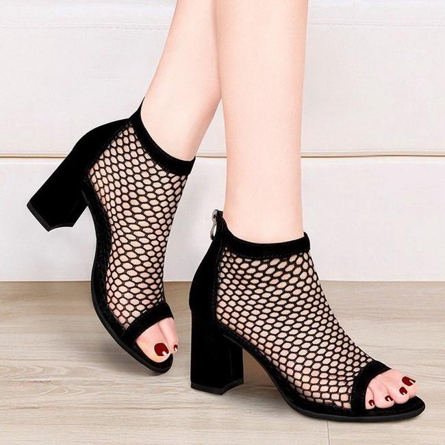 FOFU-(任2雙888)時尚高跟粗跟網面透氣涼爽羅馬鞋涼鞋【02S13826】