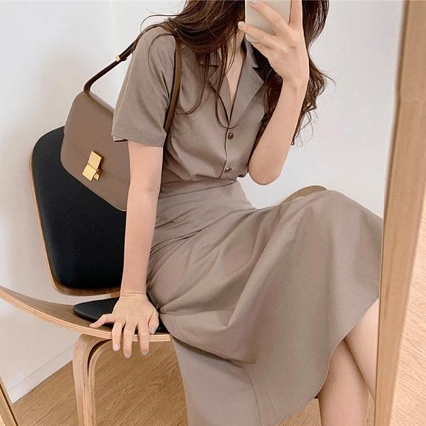 兩件式.優雅女伶V領排扣翻領襯衫+高腰修身側開衩長裙.白鳥麗子