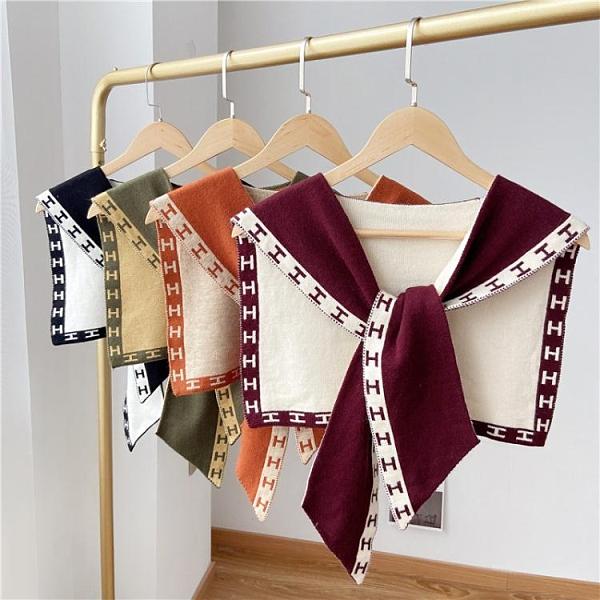 夏季針織小披肩打結外搭毛線春秋季網紅裝飾女搭肩假兩件護頸圍巾 伊蘿