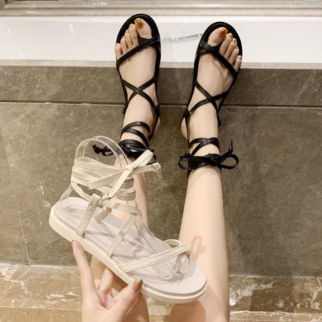 FOFU-(任2雙788)渡假風平底綁繩設計羅馬鞋涼鞋【02S13819】