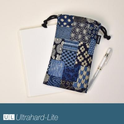 Ultrahard-Lite 萬用束口袋 - 日式拼布(深藍)