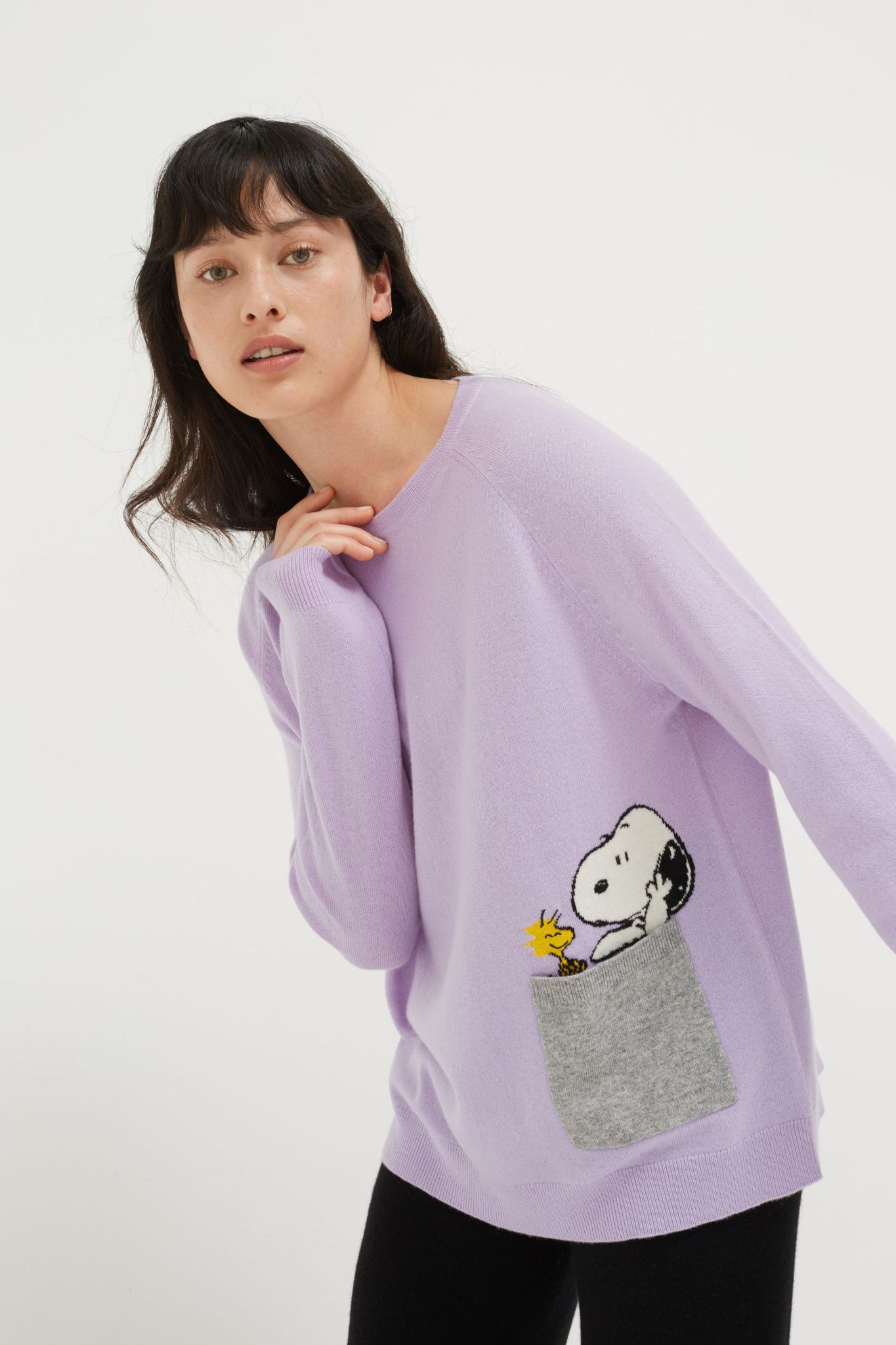 Lilac Snoopy Pocket Wool-Cashmere Sweater