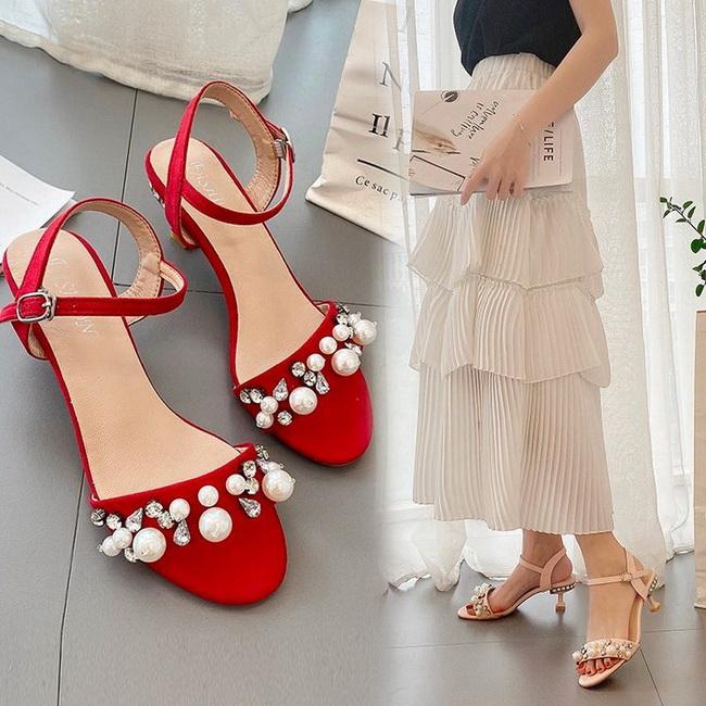 FOFU-(任2雙1088)浪漫仙女風低跟酒杯跟珍珠裝飾涼鞋【02S13828】