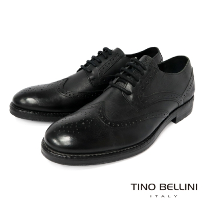 TINO BELLINI 男款 葡萄牙進口翼紋雕花牛津紳士鞋-黑