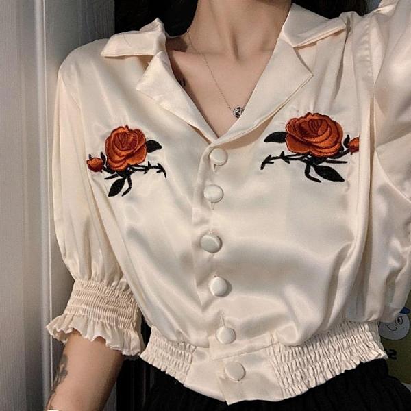 法式復古設計感小眾襯衫女夏季宮廷風泡泡袖短款上衣短袖襯衣夏 伊蘿 99免運