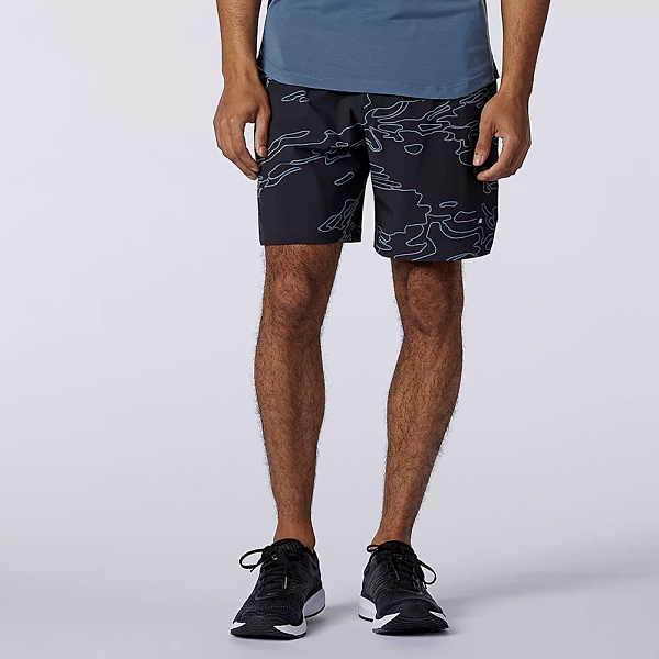 New Balance 男裝 短褲 慢跑 DRY 7英吋 迷彩 黑【運動世界】MS11152BK