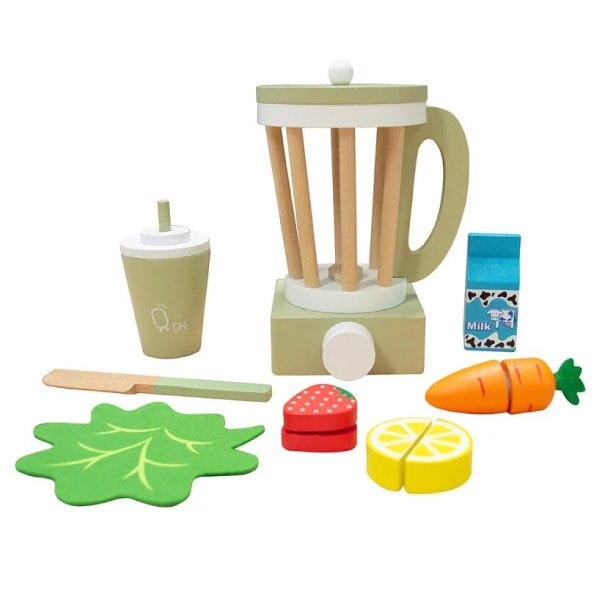 Teamson 小廚師法蘭克福木製玩具果汁機組-綠色(家家酒13件組)