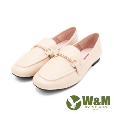 W&M (女)菱格方頭絃釦莫卡辛 女鞋 - 杏(另有黑)