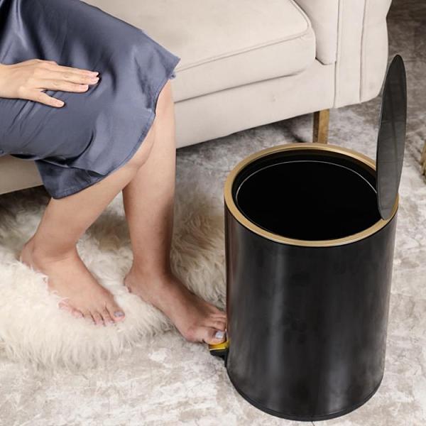 垃圾桶不銹鋼帶蓋家用客廳臥室北歐輕奢風【白嶼家居】