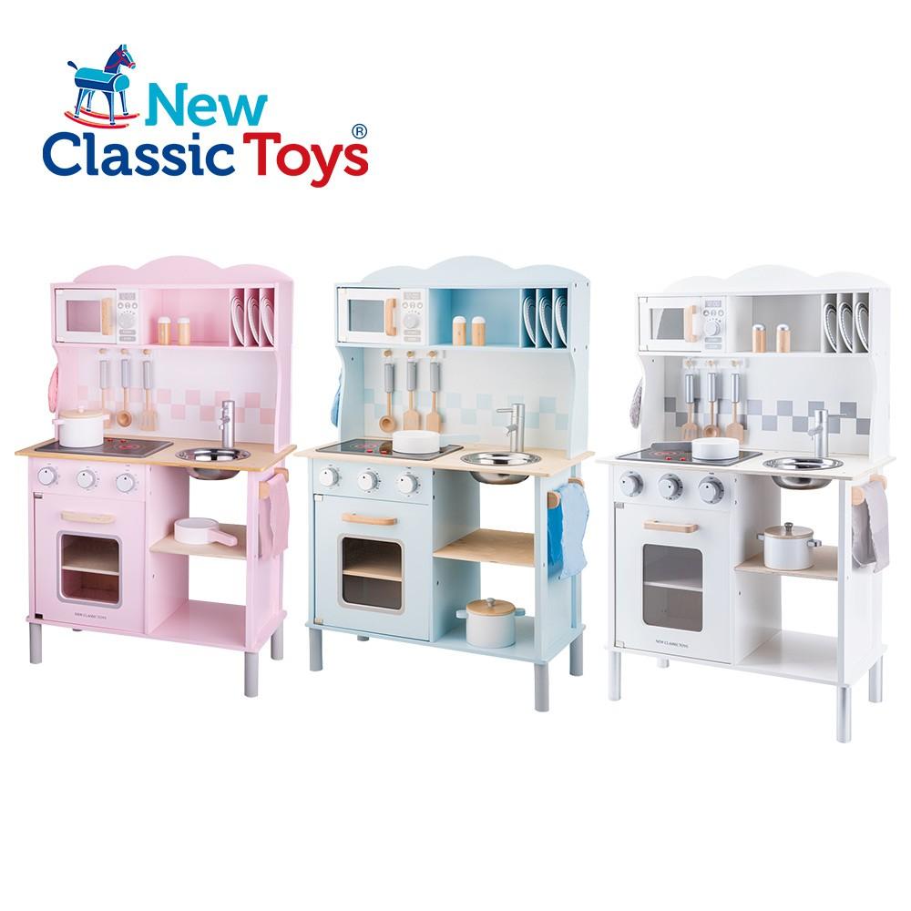 【荷蘭New Classic Toys】聲光小主廚木製廚房玩具(含配件12件/三色可選)