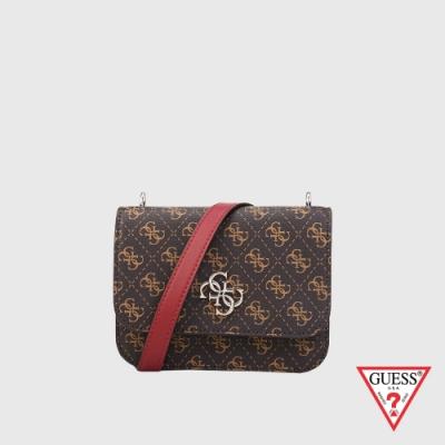 GUESS-女包-撞色滿版LOGO印花斜背包-紅 原價2490