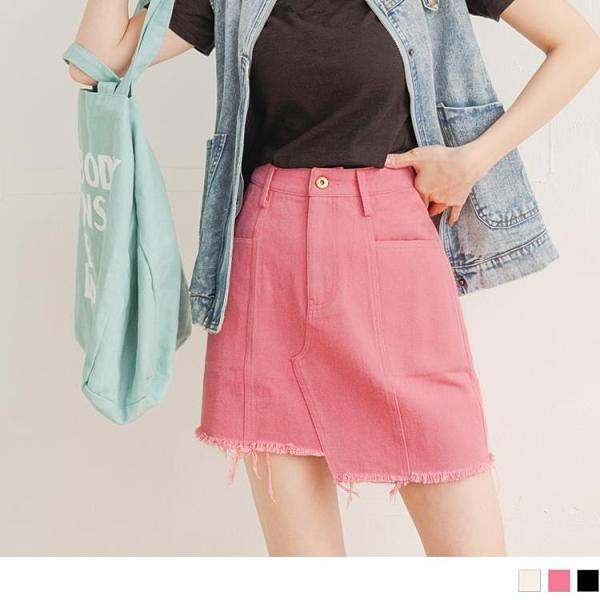《KG1048-》高含棉斜紋不對稱下襬抽鬚短裙 OB嚴選