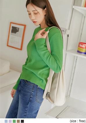 韓國空運 - 羅紋純色圓領針織上衣 針織衫